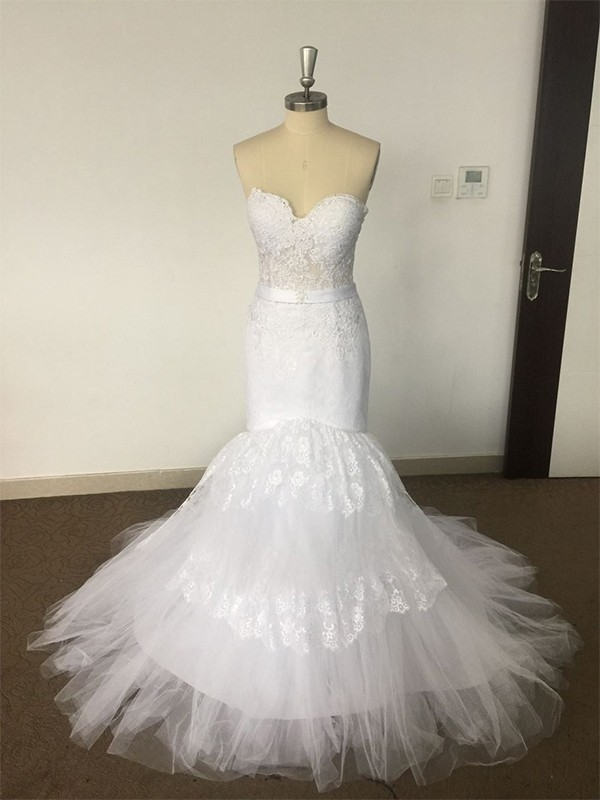 Mermaid Sweetheart Court Train Lace Tulle Sleeveless Wedding Dresses