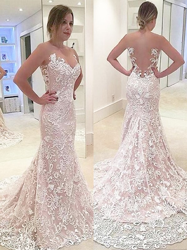 Mermaid Lace Sleeveless Sweetheart Sweep/Brush Train Wedding Dresses