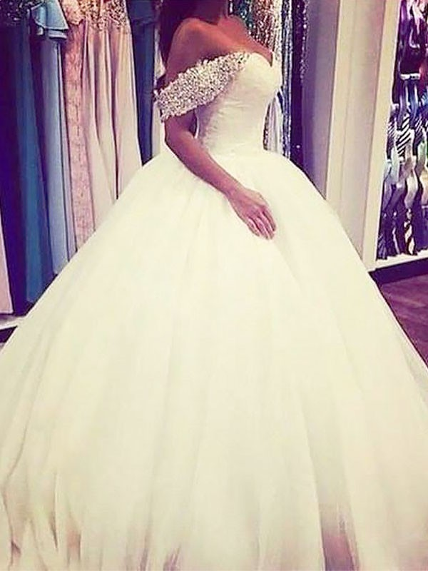Ball Gown Tulle Off-the-Shoulder Sweep/Brush Train Sleeveless With Beading Wedding Dresses