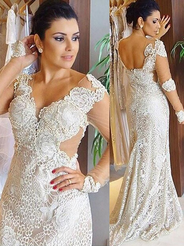 Sheath V-neck Lace Long Sleeves Sweep/Brush Train Wedding Dresses