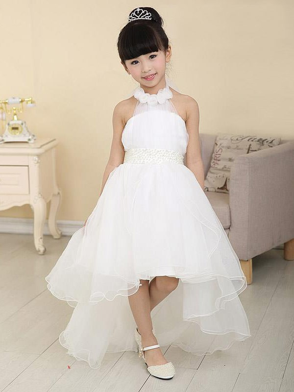 A-Line Organza High Neck Sleeveless Asymmetrical With Beading Flower Girl Dresses