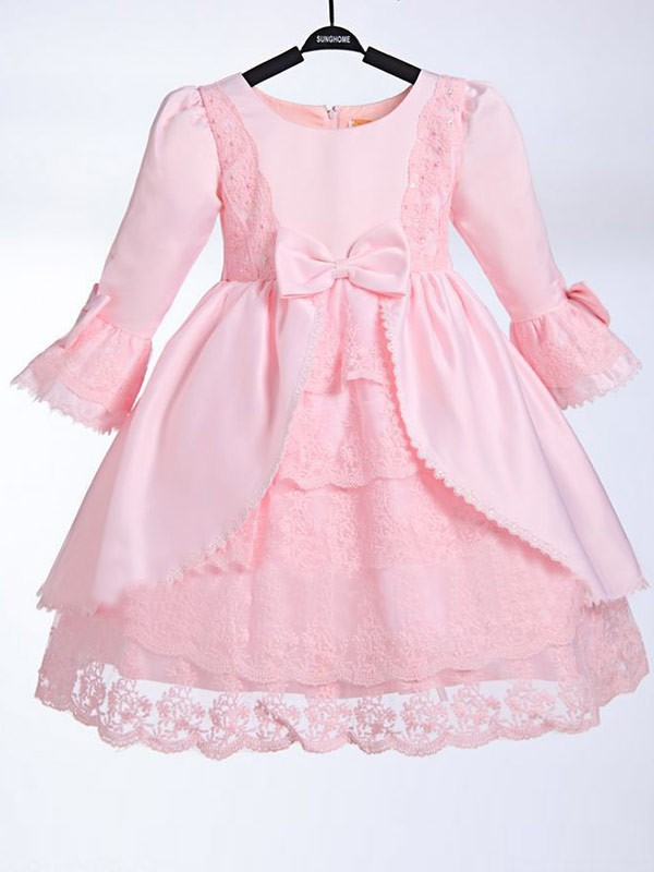 A-Line Satin Scoop 3/4 Sleeves Tea-Length With Bowknot Flower Girl Dresses