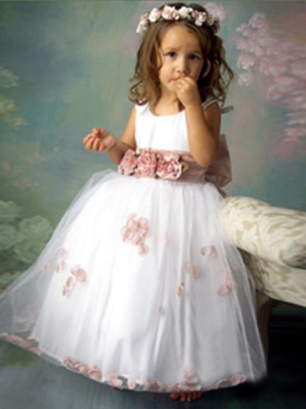 A-Line Tulle Scoop Sleeveless Floor-Length With Hand-Made Flower Flower Girl Dresses