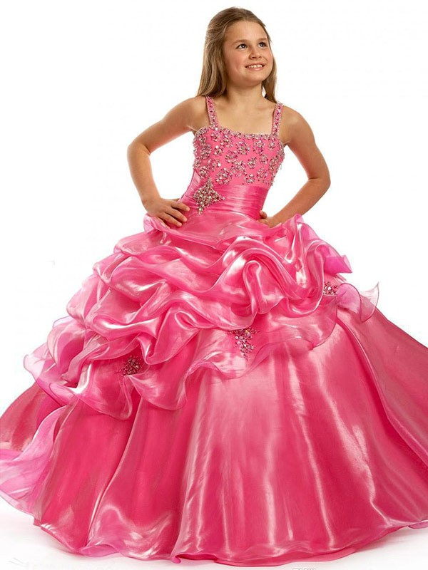Ball Gown Organza Square Sleeveless Floor-Length With Beading Flower Girl Dresses