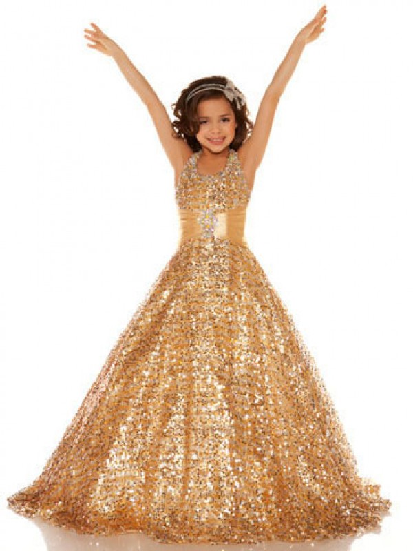A-Line Sequins Halter Sleeveless Floor-Length With Sequin Flower Girl Dresses