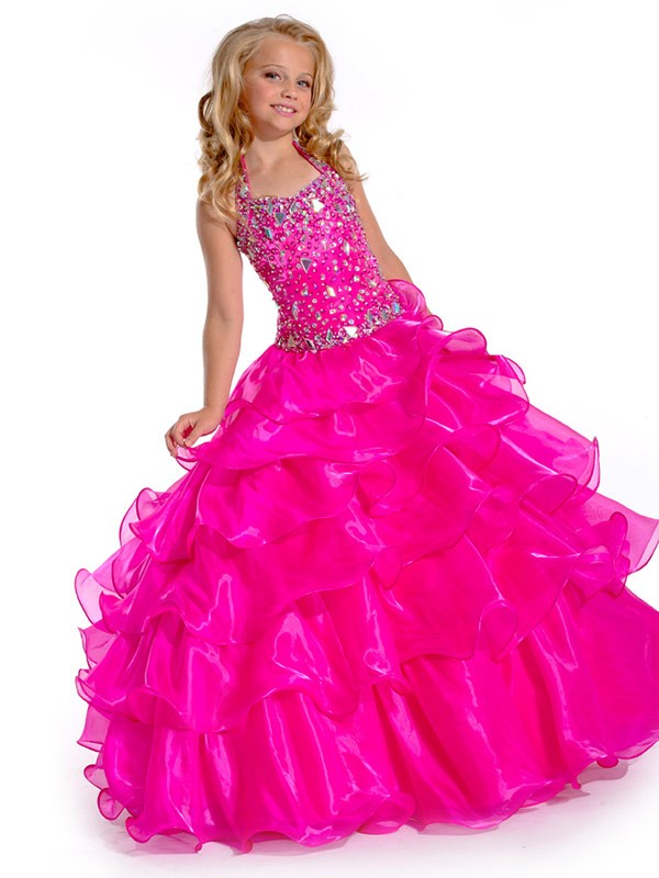 Ball Gown Organza Halter Sleeveless Floor-Length With Rhinestone Flower Girl Dresses