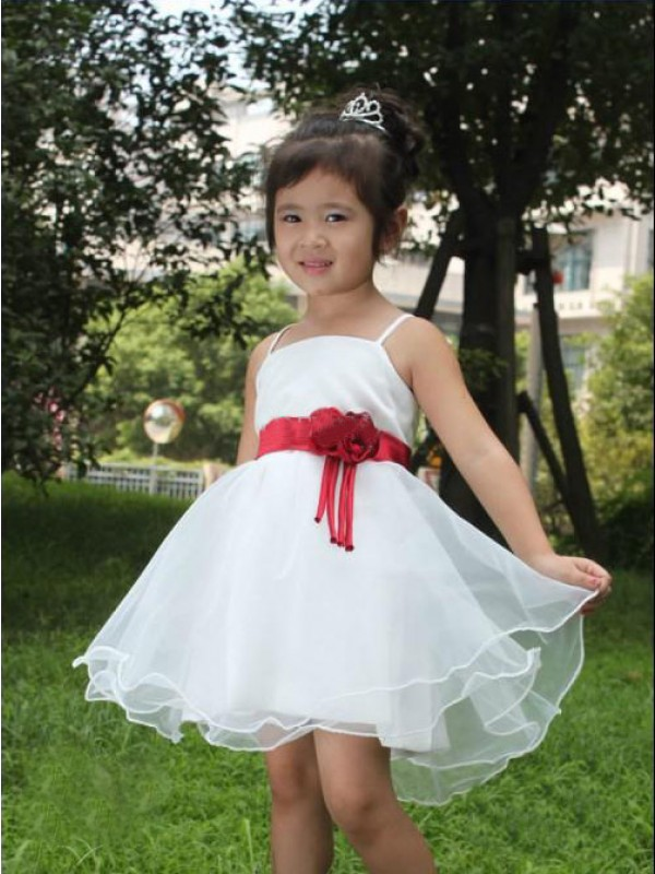 A-Line Organza Spaghetti Straps Sleeveless Short/Mini With Hand-Made Flower Flower Girl Dresses
