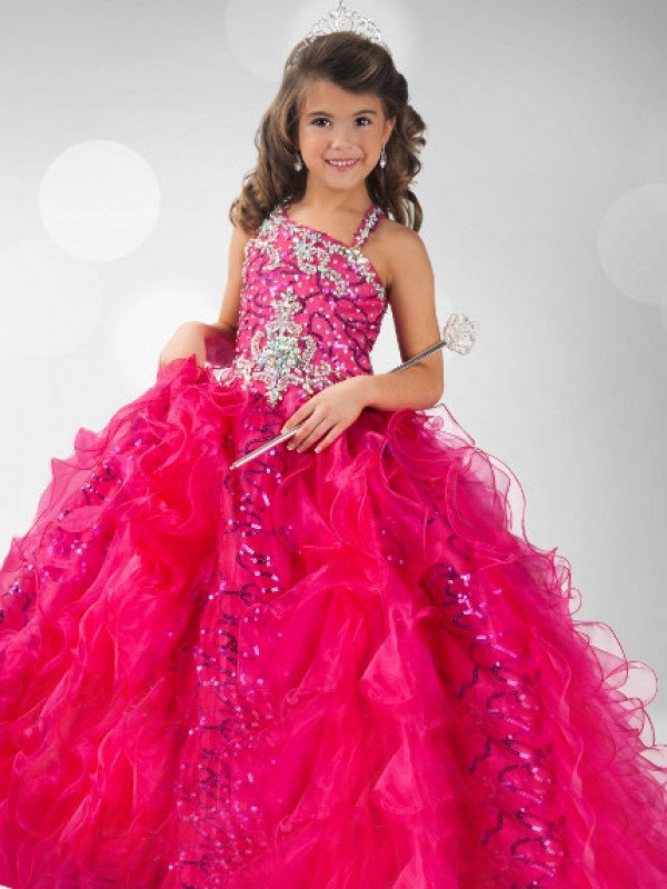 Ball Gown Organza Straps Sleeveless Floor-Length With Sequin Flower Girl Dresses