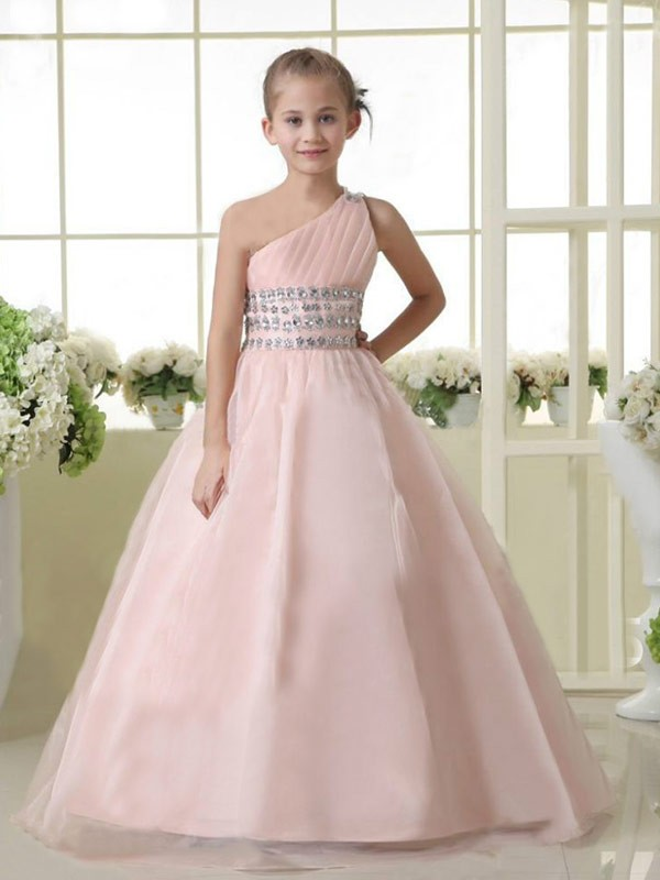 A-Line Organza One-Shoulder Sleeveless Floor-Length With Beading Flower Girl Dresses