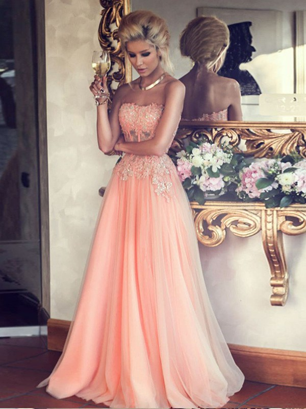 A-Line Chiffon Strapless Sleeveless Floor-Length With Applique Dresses