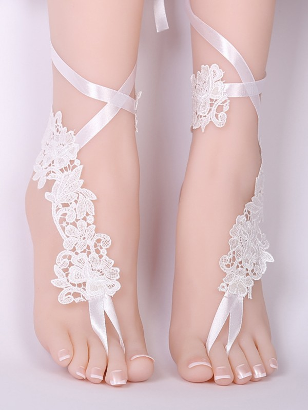 Beautiful Bridal/Feminine Lace With Applique Anklets