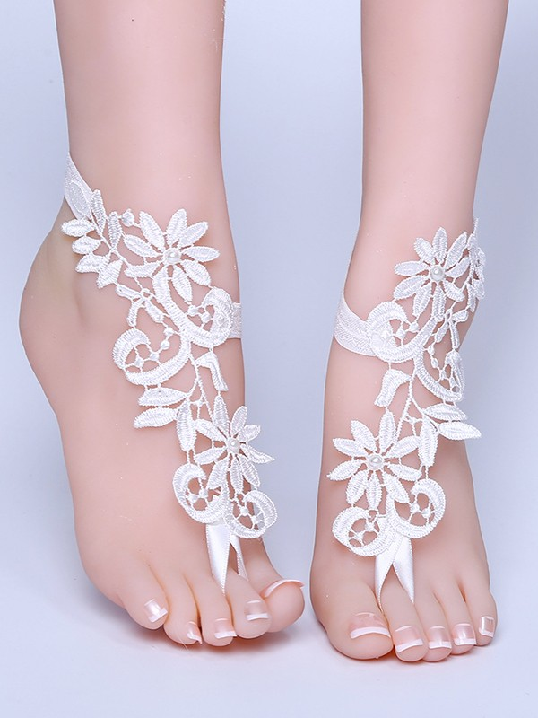 Stylish Bridal/Feminine Lace With Applique Anklets