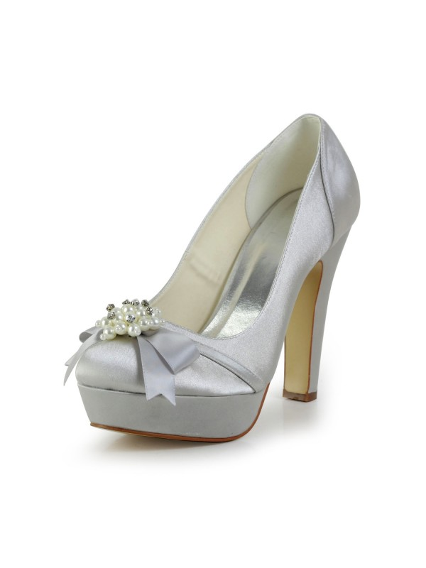 eff5905655b Women s Satin Chunky Heel Closed Toe Platform Silver Wedding Shoes With  Bowknot