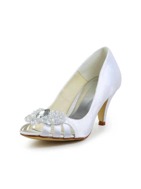 b03d2910746aee Women s Satin Cone Heel Peep Toe Sandals White Wedding Shoes With Hollow-out