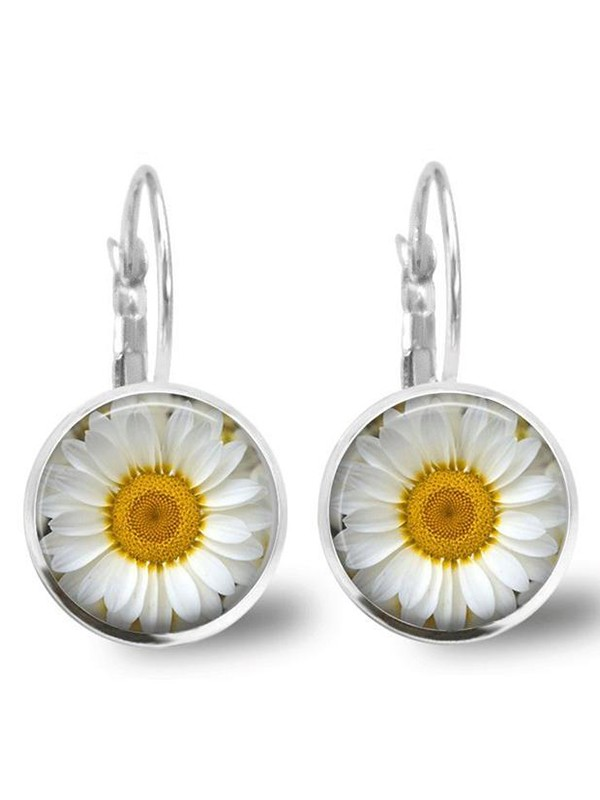 Fashion Time Alloy Glass Orchid Daisy Earrings
