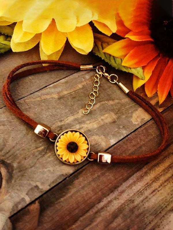 Art Cute Leather Rope Alloy Sunflower Bracelets