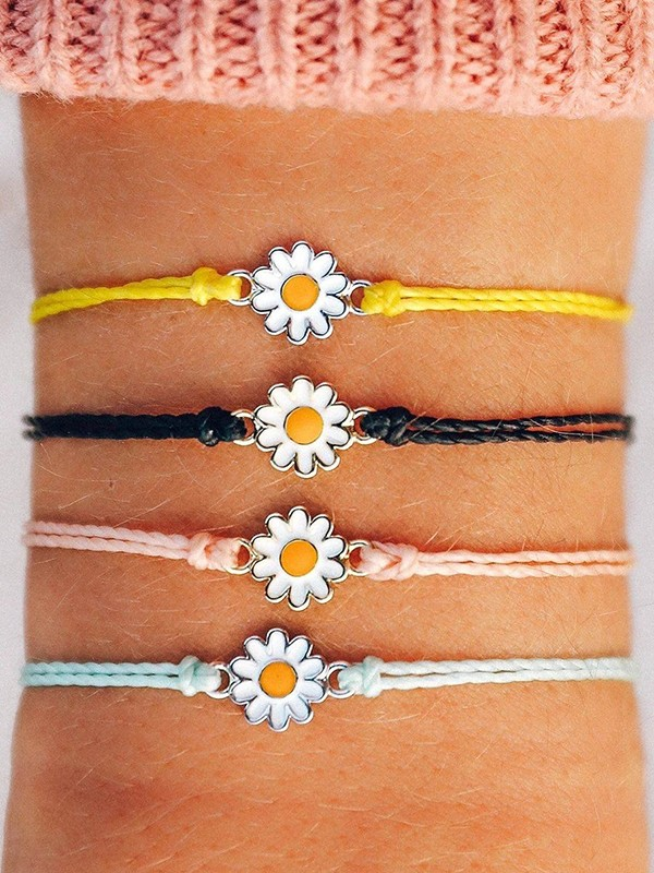 Cute Daisy Alloy Bracelets/Anklets(4 pieces)