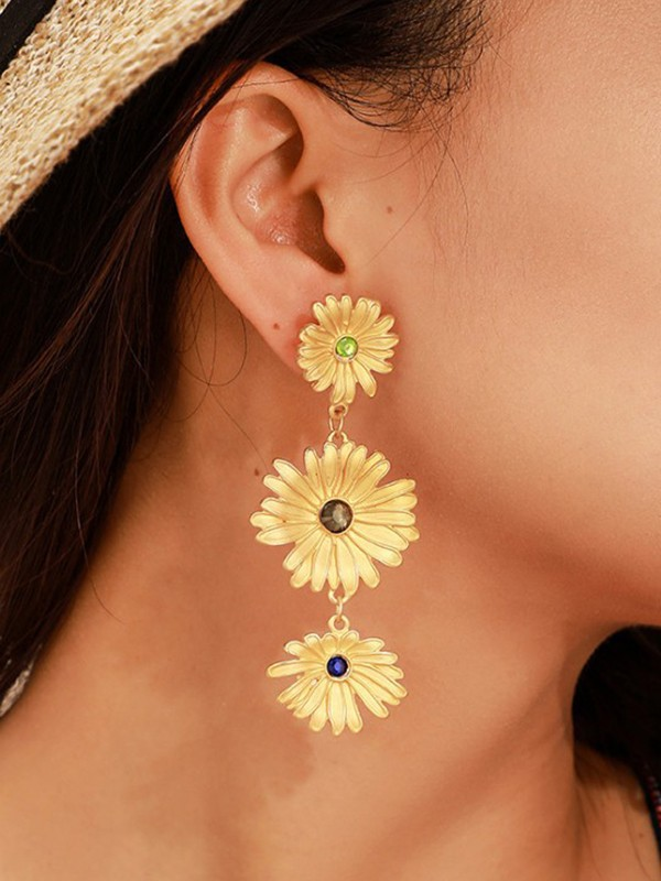 Fresh Sunflower Rhinestone Alloy Long Earrings