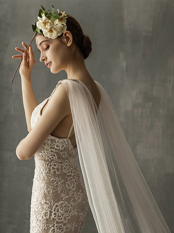 Charming Tulle One-Tier Cathedral Bridal Veils