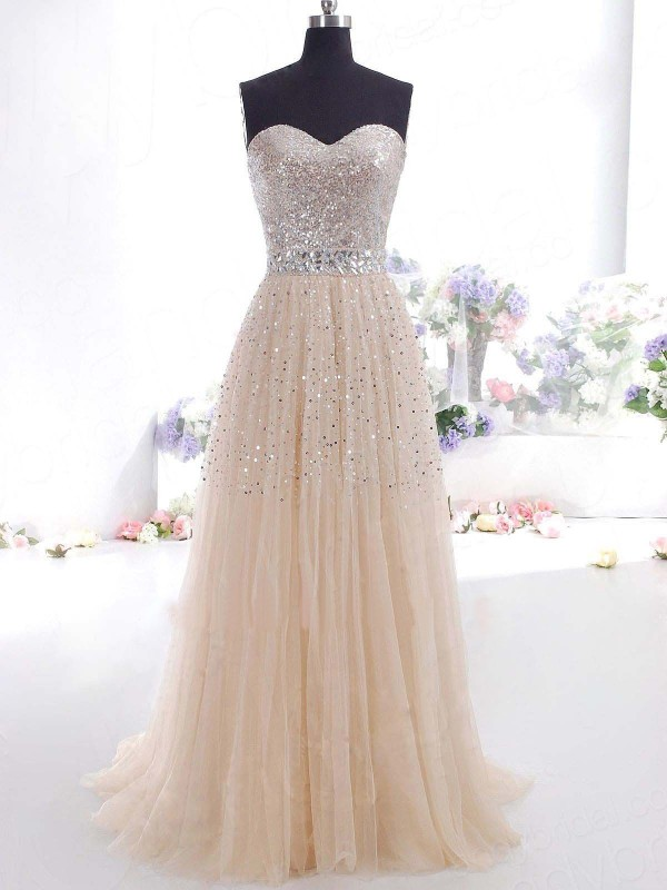 A-Line Tulle Sweetheart Sleeveless Floor-Length With Sequin Dresses