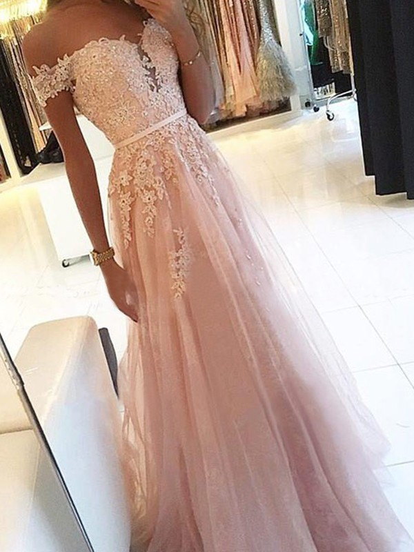 A-Line Off-the-Shoulder Sleeveless Floor-Length With Applique Tulle Dresses