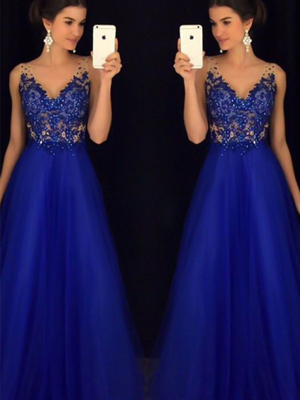 A-Line V-neck Sleeveless Floor-Length With Applique Tulle Dresses