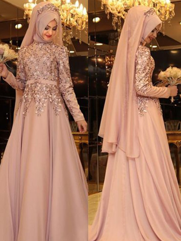 A-Line High Neck Long Sleeves Floor-Length With Beading Chiffon Dresses