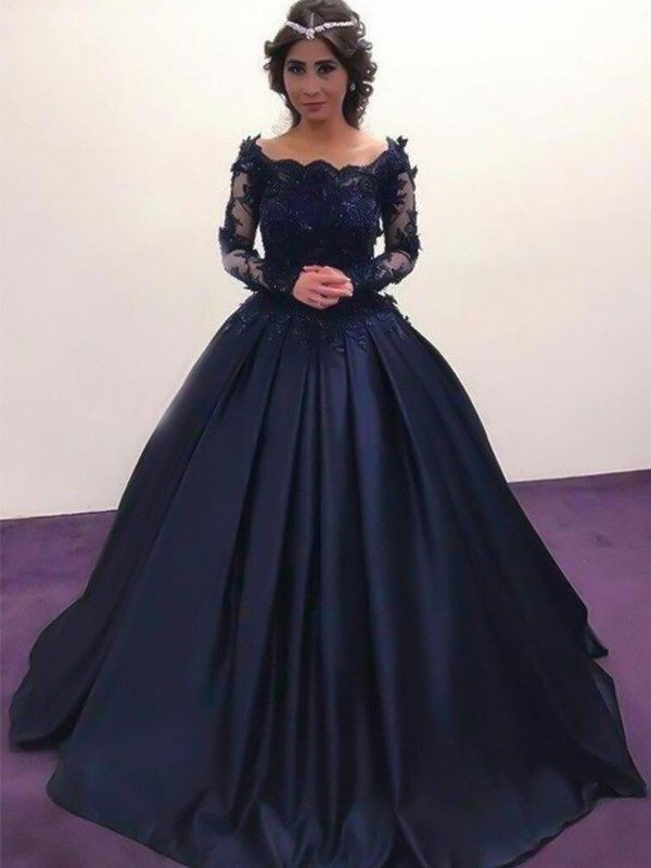 Ball Gown Bateau Long Sleeves Sweep/Brush Train With Applique Satin Dresses