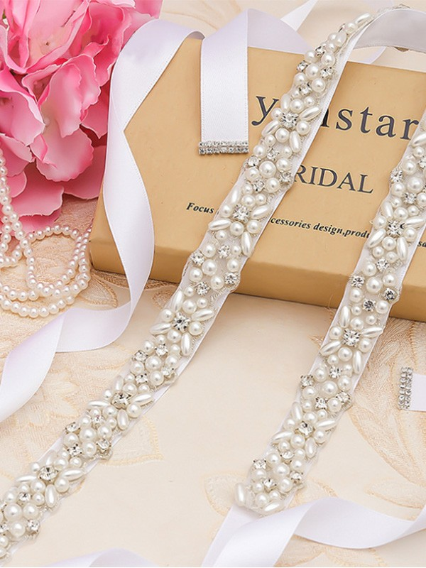 Fancy Cloth Sashes With Rhinestones/Imitation Pearls