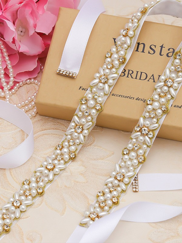 Beautiful Cloth Sashes With Rhinestones/Imitation Pearls