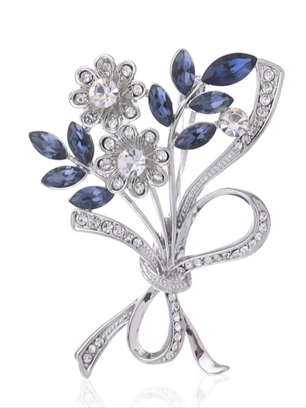 Graceful Alloy With Crystal Ladies' Brooch
