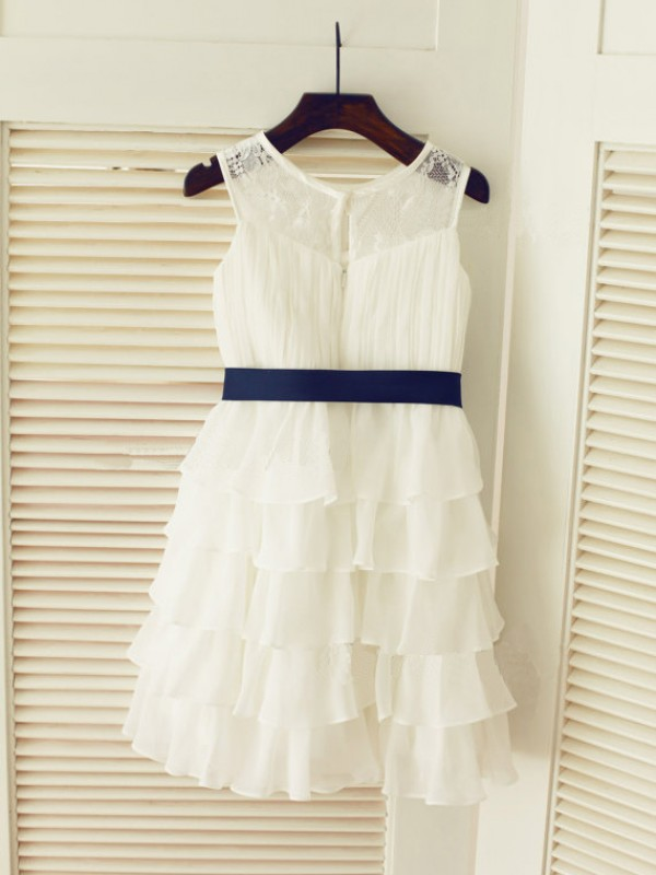 A-Line Chiffon Scoop Sleeveless Tea-Length With Ruched Flower Girl Dresses