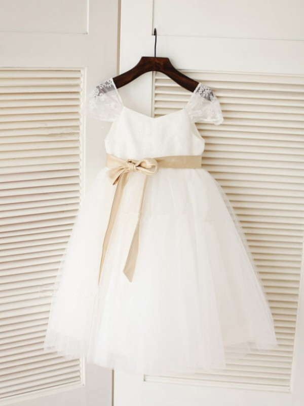 Ball Gown Tulle Scoop Sleeveless Tea-Length With Sash/Ribbon/Belt Flower Girl Dresses