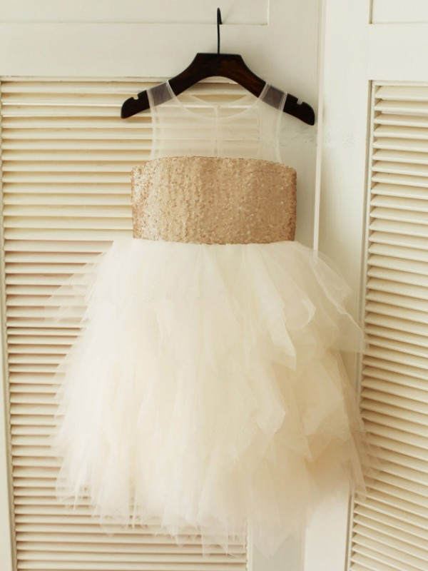 Ball Gown Tulle Scoop Sleeveless Tea-Length With Ruffles Flower Girl Dresses