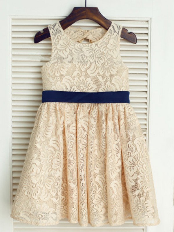 A-Line Lace Scoop Sleeveless Tea-Length With Bowknot Flower Girl Dresses