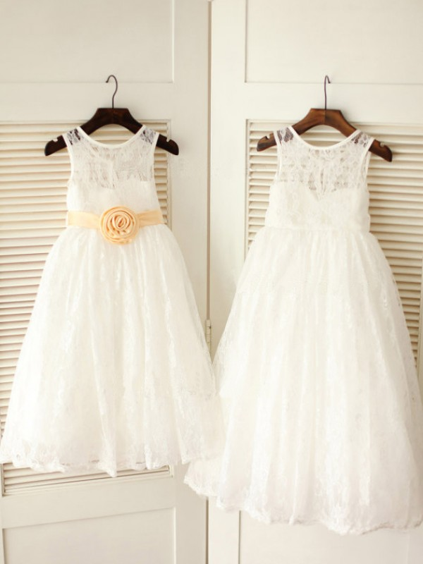 A-Line Lace Scoop Sleeveless Ankle-Length With Sash/Ribbon/Belt Flower Girl Dresses