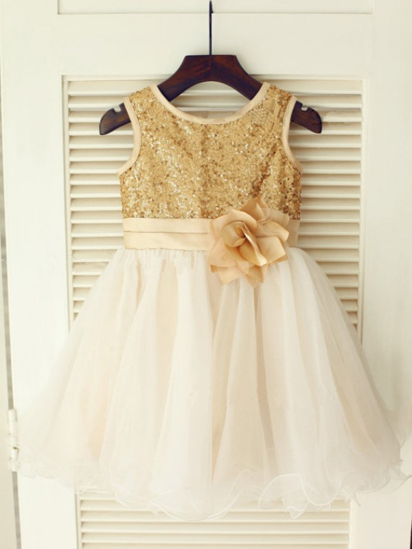 a1114cbd A-Line Organza Scoop Sleeveless Knee-Length With Sequin Flower Girl Dresses