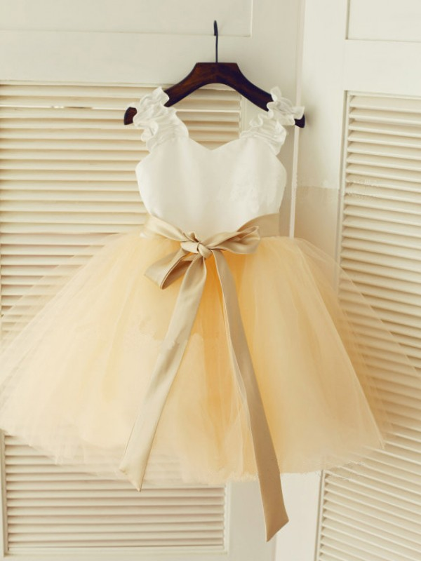 Ball Gown Tulle Straps Sleeveless Tea-Length With Sash/Ribbon/Belt Flower Girl Dresses