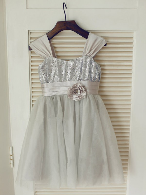 A-Line Tulle Straps Sleeveless Tea-Length With Bowknot Flower Girl Dresses