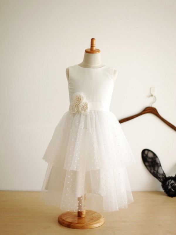 A-Line Tulle Jewel Sleeveless Tea-Length With Hand-Made Flower Flower Girl Dresses