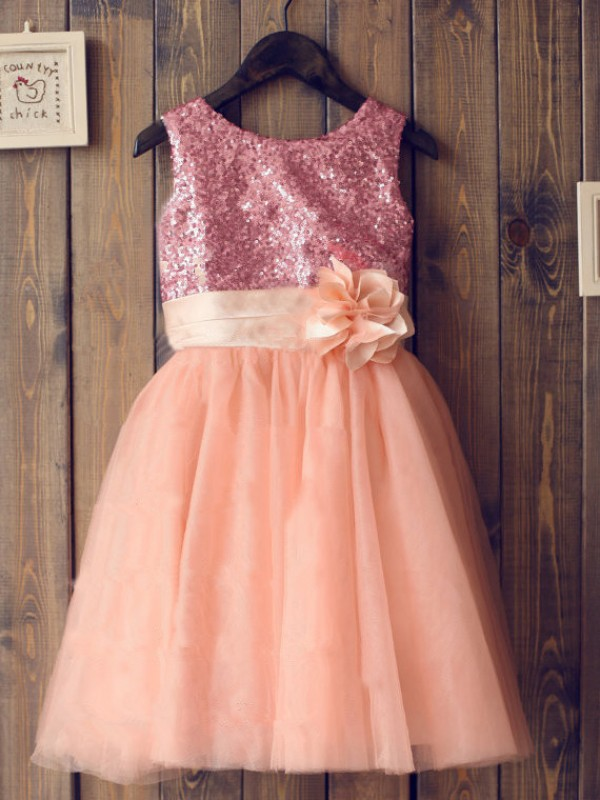 7bba71d624d A-Line Tulle Scoop Sleeveless Tea-Length With Sequin Flower Girl Dresses