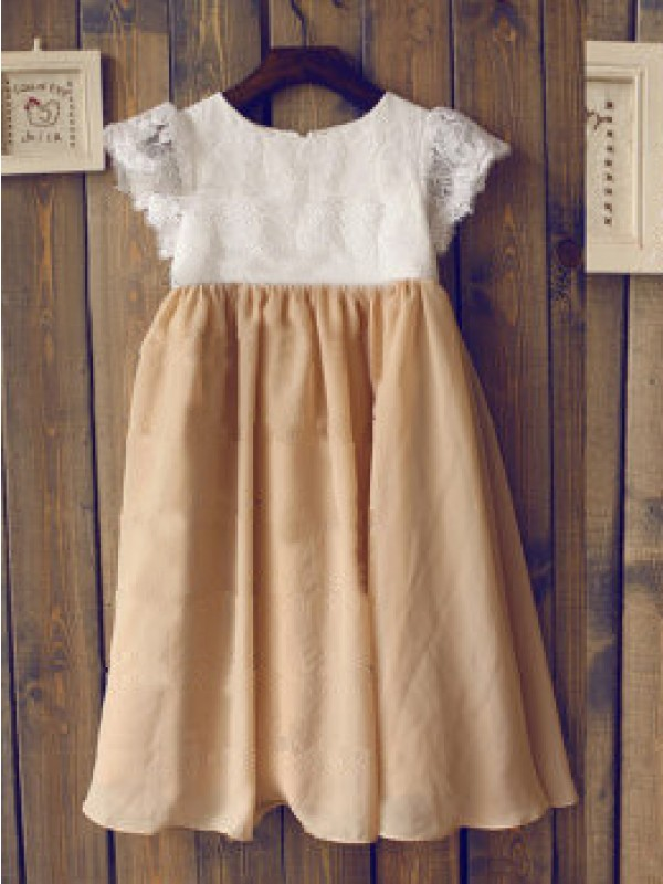 A-Line Chiffon Scoop Short Sleeves Tea-Length With Lace Flower Girl Dresses