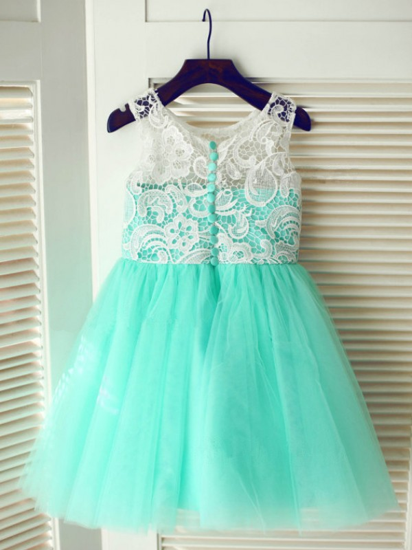 A-Line Tulle Scoop Sleeveless Tea-Length With Lace Flower Girl Dresses