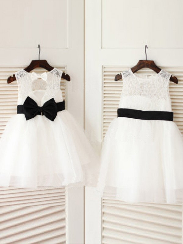 A-Line Tulle Scoop Sleeveless Knee-Length With Bowknot Flower Girl Dresses