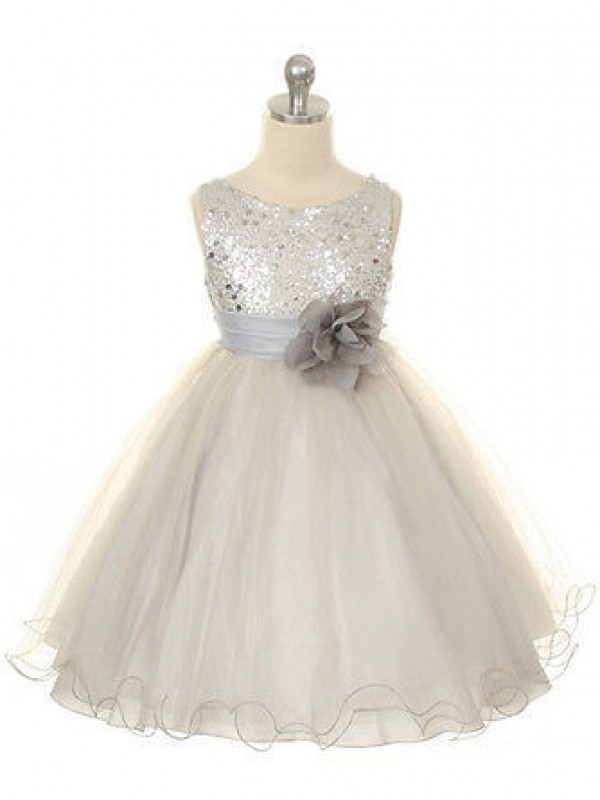 Ball Gown Organza Jewel Sleeveless Tea-Length With Hand-Made Flower Flower Girl Dresses