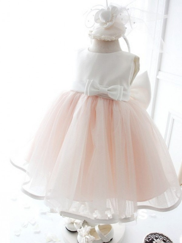 Ball Gown Organza Jewel Sleeveless Floor-Length With Bowknot Flower Girl Dresses