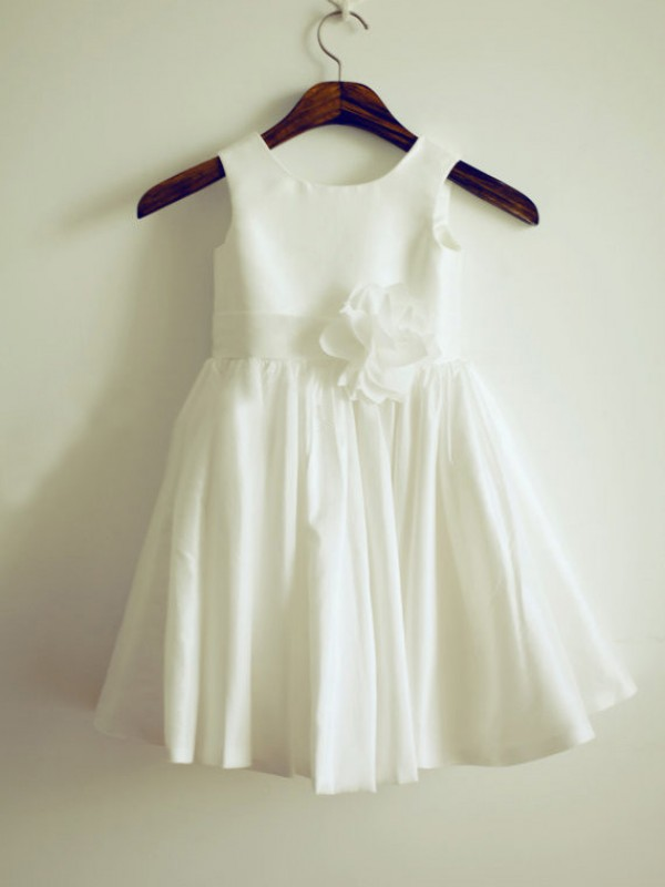 A-Line Taffeta Jewel Sleeveless Knee-Length With Hand-Made Flower Flower Girl Dresses