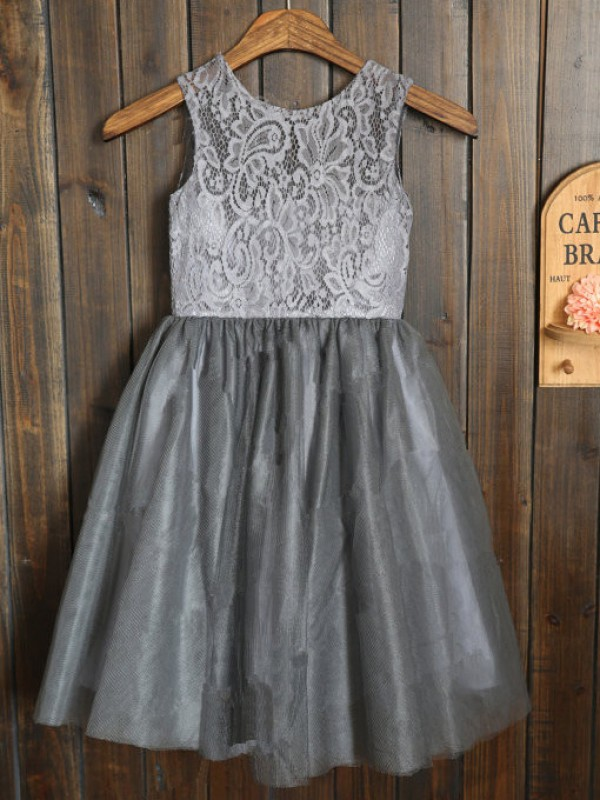 A-Line Tulle Scoop Sleeveless Tea-Length With Sash/Ribbon/Belt Flower Girl Dresses
