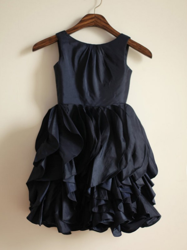 A-Line Taffeta Jewel Sleeveless Tea-Length With Ruffles Flower Girl Dresses
