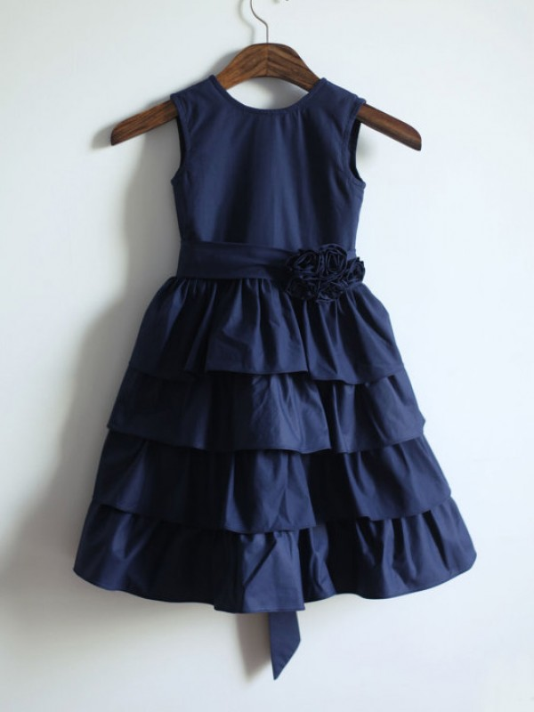 A-Line Taffeta Jewel Sleeveless Tea-Length With Sash/Ribbon/Belt Flower Girl Dresses